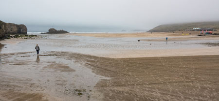 A misty Perranporth beach