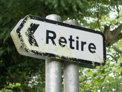 Retire road sign